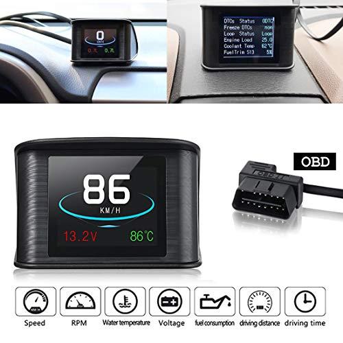 VIGORFLYRUN PARTS LTD Coche TFT LCD Head Display Display OBD2 HUD, P10 Muestra detección de Voltaje RPM de Velocidad Proyector De Computadora De Conducción