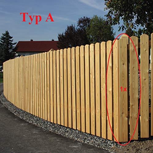 Gartenwelt Riegelsberger Premium Zaunlatte Typ A aus Lärchenholz 20x95 mm, Höhe 80 cm sibirische Lärche Oben abgerundet