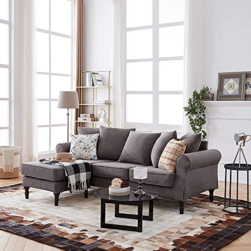 Panana 3 Seater Sofa Corner Sofa Couch L Shaped Sofa Settee Fabric Grey Left or Right Hand Side Chaise Footstool for Living Room Lounge Home Office Furniture (Grey)