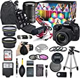 Canon EOS 80D DSLR Camera Video Creator Kit with Canon EF-S 18-135mm f/3.5-5.6 is USM Lens Bundle + Wide Angle & Telephoto Lens + Flash + SanDisk 32GB Memory + Accessory Bundle