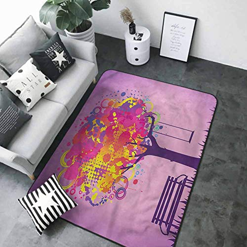 Baby Crawling Area Mats Tree,Colorful Leaves Swing Art 84 x 60 in Non-Slip Area Rug Pad