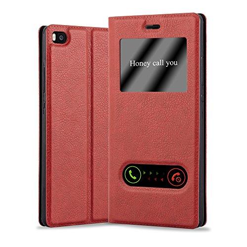 Cadorabo Funda Libro para Huawei P8 en Rojo AZRAFÁN - Cubierta Proteccíon con Cierre Magnético, Función de Suporte y 2 Ventanas- Etui Case Cover Carcasa