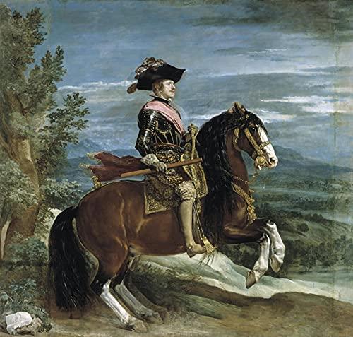 Pintura por número para adultos,kit de pintura DIY por número para principiantes o niños como regalo (16 x 20 in.) sin marco -Felipe IV,a caballo