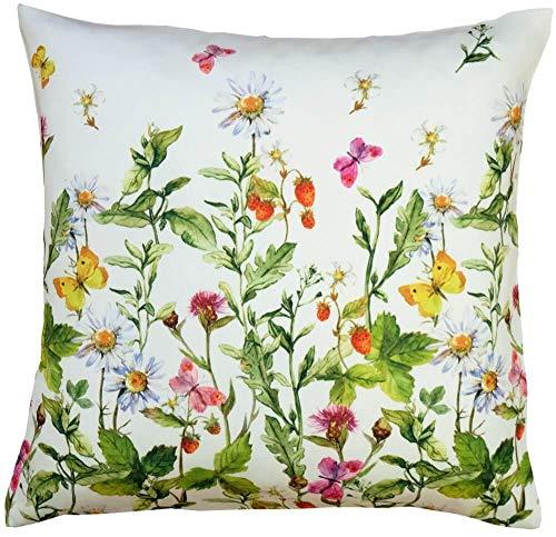 Kussenhoes Huis Textiel Bloem Weide & Vlinders - Print kleurrijke voor keuken & tafel 40x40 cm