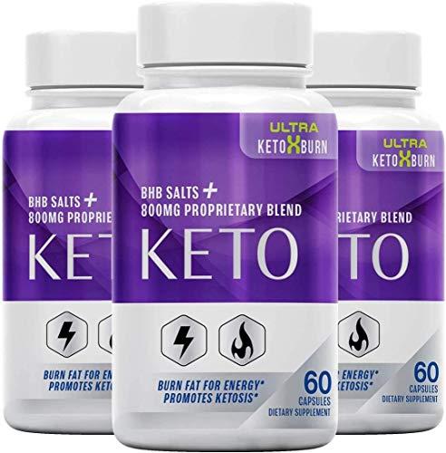 (3 Pack) Official Ultra Keto X Burn, BHB Ketones, 3 Bottle Package, 90 Day Supply