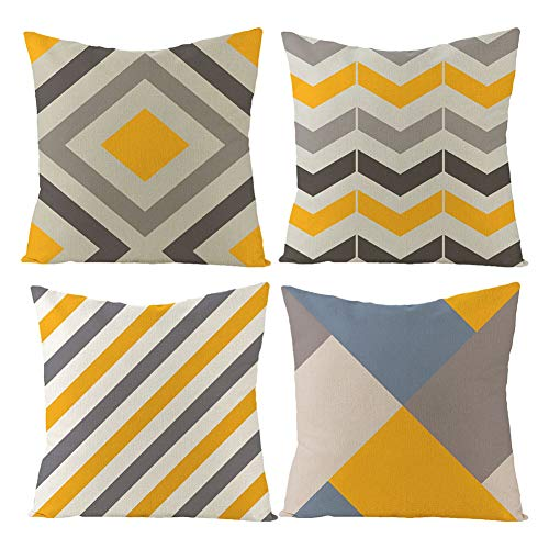 CCXZXF Pack of 4 Yellow Throw Pillow Covers Decorative Linen Sofa Square Cushion Pillowcases Geometric Chevron Patterns Pillow Cases for Couch Living Room Farmhouse 18 x 18 inch
