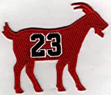 MICHAEL JORDAN G.O.A.T GOAT No. 23 Patch - Jersey Number Basketball Sew or Iron-On Embroidered Patch 3 1/4 x 2 3/4'