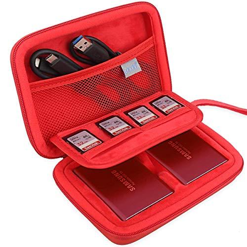 Lacdo 2 in 1 Tasche für Samsung T5 T3 Terabyte Portable SSD External Solid State Drive Extreme Portable SSD Tragbare Externe Festplatte 250 GB 500GB 1TB 2TB USB-3.1 Stoßfest Schutz Hülle, Rot