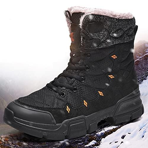 Botas de Senderismo de Invierno Botas de Nieve de Tobillo para Hombre Trekking Deportes Al Aire Libre Zapatos para Caminar Botas de Trabajo para Adultos,Black-44