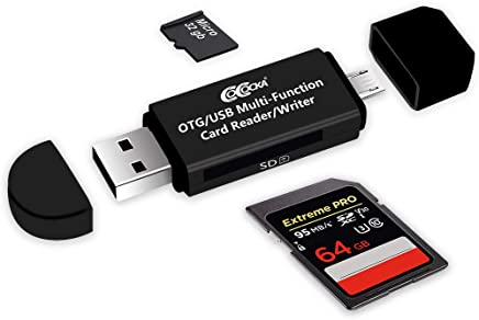 Micro USB OTG to USB 2.0 Adapter; SD/Micro SD Card Reader with Standard USB Male & Micro USB Male Connector for Smartphones/Tablets with OTG Function