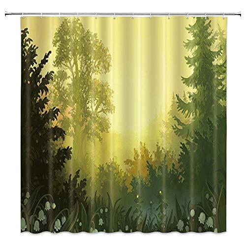 NJMRZX Duschvorhang, Naturwald, Wasserfarben, Tannenbäume, Frühlingsblumen, Maiglöckchen-Dekor, Grün-Gelb, Stoff, Badezimmer-Gardinen, 183 x 183 cm, wasserdicht, Polyester mit Haken
