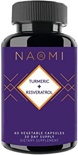Naomi Turmeric + Resveratrol - Anti-Aging and Anti-Inflammatory Support - High Potency Turmeric and Resveratrol - 60 Count