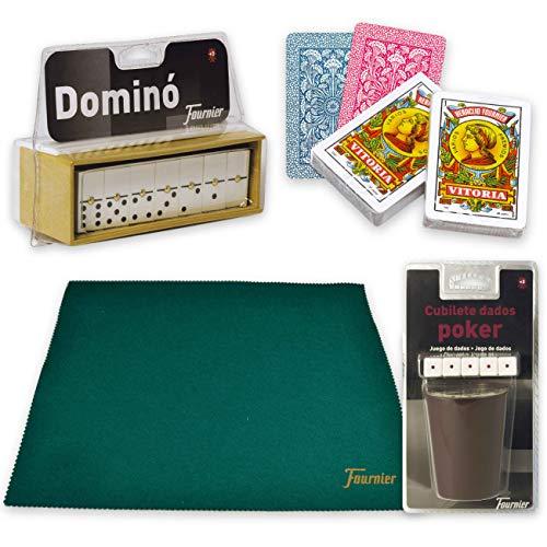Poker Ciaf Estuche Madera Polipiel BARAJA FOURNIER Dados Domino Y CUBILETE