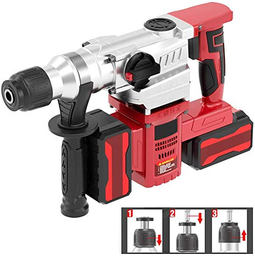 Dmqpp Akku-Bohrhammer, Brushless High-Power elektrische Hammer-Schlagbohrmaschine, Industriebeton Lithium Electric Drill, Dual-Elektro-Durable Output (Color : 2 Batteries 2 Chargers)