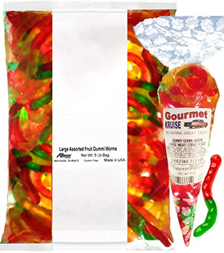 Gummi Gummy Worms Fruit Flavor Albanese - Bulk Candy 5Lb Bag With Large Night Crawler Size Worms Gourmet Kruise Signature Gift Bag 11 OZ (NET WT 5 LBS.11OZ) 2 Item Bundle