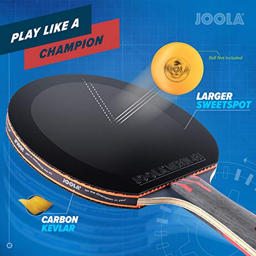 JOOLA Infinity Overdrive - Professional Performance Ping Pong Paddle with Carbon Kevlar Technology - Black Rubber on Both Sides - Competition Table Tennis Racket for Advanced Training - Extreme Speed
