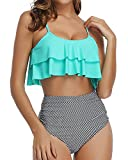 Tempt Me Women Ruffle High Waisted Bikini Green Stripe Two Piece Swimsuits Ruched Bathing Suit L