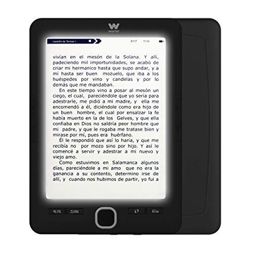 """Woxter Scriba 195 Paperlight Black Lector de libros electrónicos de 6"""" (1024 x 758, e-ink pearl, pantalla RETROILUMINADA, EPUB, PDF, micro SD, guarda más de 4000 libros, textura engomada) color negro"""