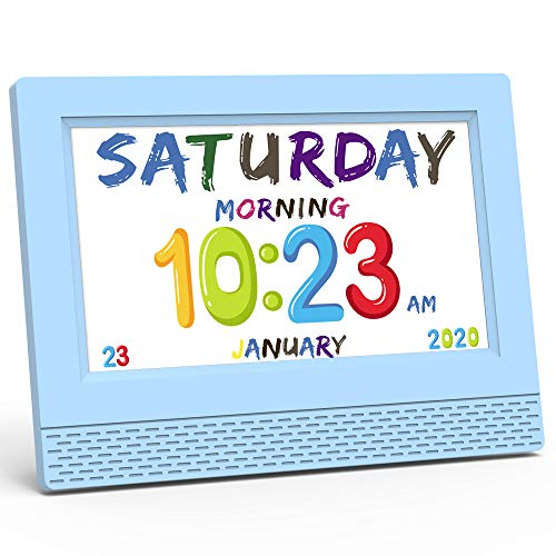 Kinderwecker, intelligenter Kinderschlaftrainer, 7-Zoll-Digitalkalender-Schreibtischuhr für Kindergeschenke - Tägliche Erinnerung - Menschliche Sprachnotiz Aufwachen, Schlafen, Lernen, Essen