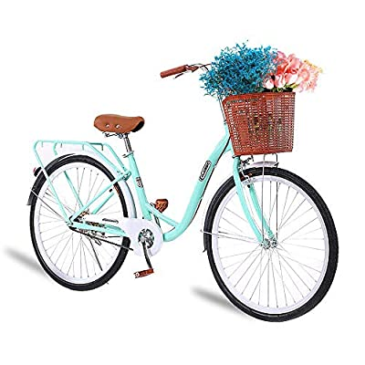 TOUNTLETS 26 Inch Womens Beach Cruiser Bike Unisex Classic Iron Bicycle with Basket Retro Bicycle Unique Art Deco Scooter,Road Bike,Seaside Travel Bicycle,Comfortable Women Commuter Bicycle