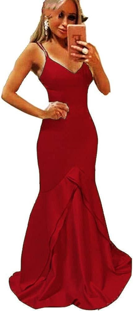 Yuki Isabelle Max 90% OFF Women's V Neck Dress Spaghetti Prom Mermaid Fashion Straps