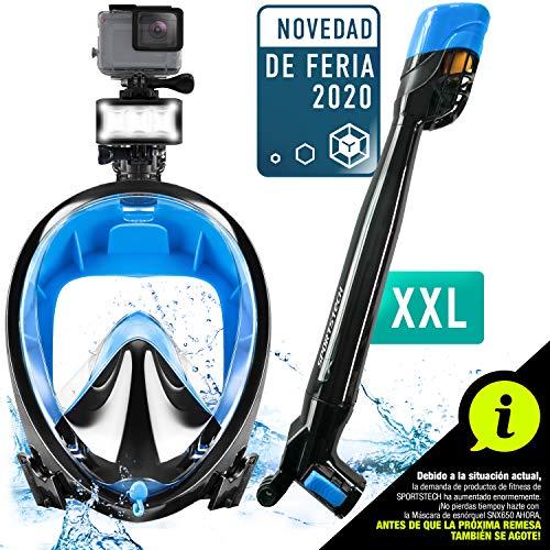 Sportstech Tendencia Verano 2020! Máscara de esnórquel CO2 de 360°, Máscara de Buceo Easybreath para niños y Adultos, Agarre de cámara y LED para esnórquel, máscara panorámica de Cara Completa SNX650