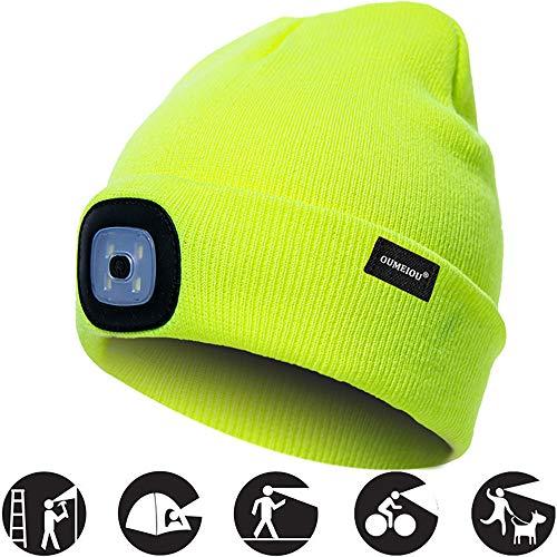 OMOUP Camping Outdoor LED Kappe 4 LED Hut USB aufladbare Caps für Männer Frauen warme Strickmütze LED Cap Licht mit 3 Helligkeitslevel Scheinwerfer Cap LED Cap Walking Camping (Fluoreszierendes Gelb)