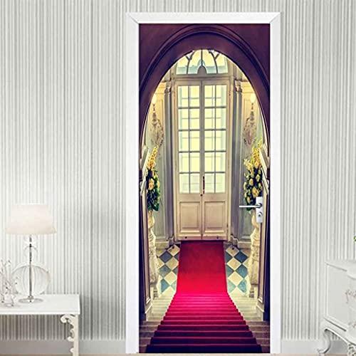 NXCNTD Murales Para Puertas 3D Para Puertas Alfombra roja de escalera Papel Pintado Puertas Autoadhesivo, Impermeable Mural Pegatinas 3d Para Puertas Vinilos Decorativos Para Puertas 77x200cm