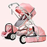 LIU Pram 3 in 1 Set, Baby Pushchair, Buggy, Foldable, with Infant Car Seat, Carrycot, Baby Carriage pramAccessories, Rain Cover, Footmuff, for Newborn, from Birth to 3 Years, Black (Color : Pink)