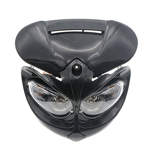 ZYHW Motorcycle Street Fighter Black Headlight Fairing Light Lamp Yellow Amber Color (Black)