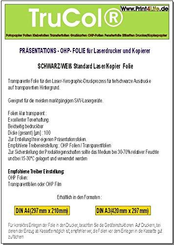 100 Blatt A4 Overheadfolie für s/w Laserdrucker & Kopierer (OHP Transparentfolie Transparentpapier)