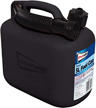 MP Essential Durable Plastic Jerry Fuel Oil Water Petrol Diesel Can Container & Funnel (Black - DIESEL): image