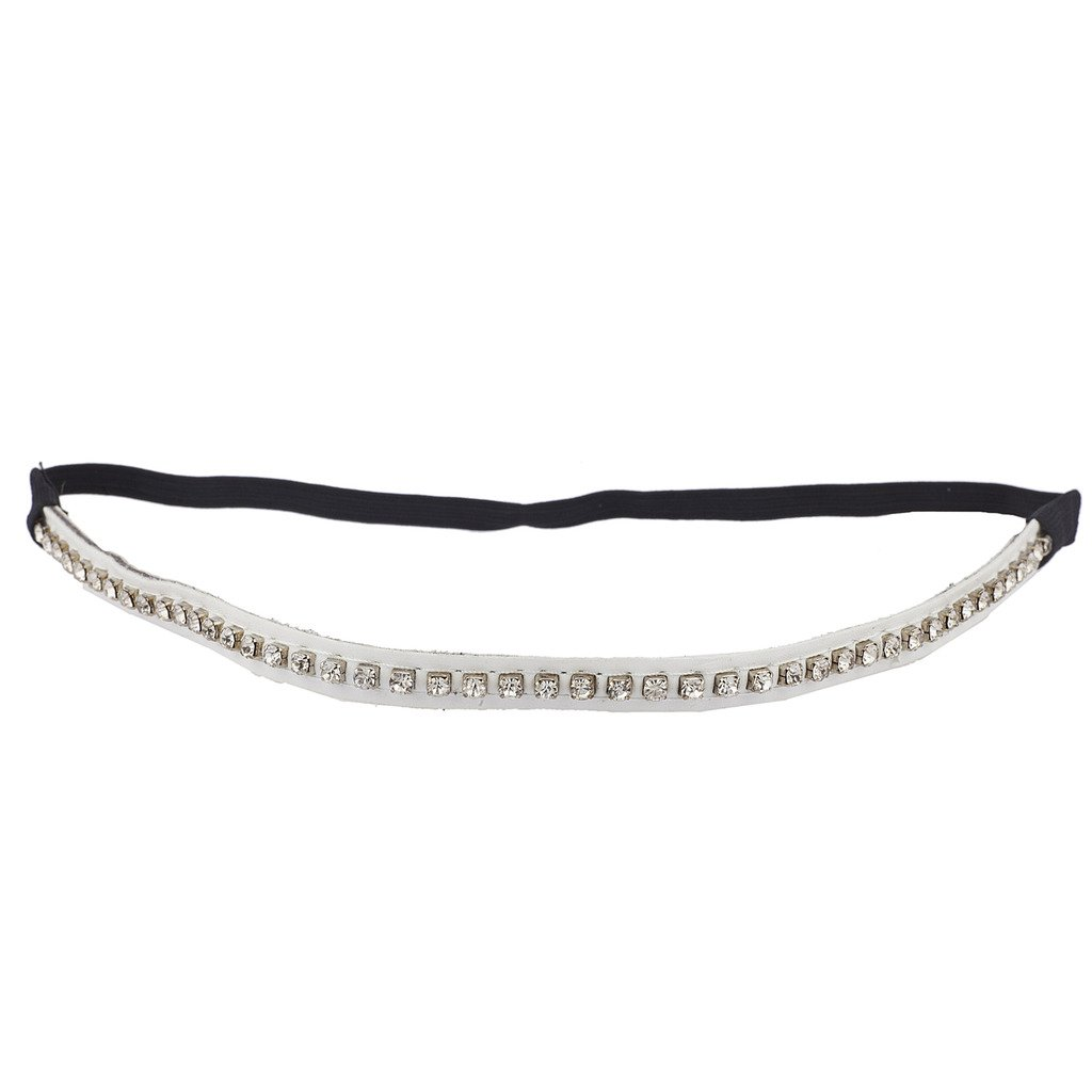 Lux Accessories White PU Leather Crystal Rhinestone Stretch Headband For Women