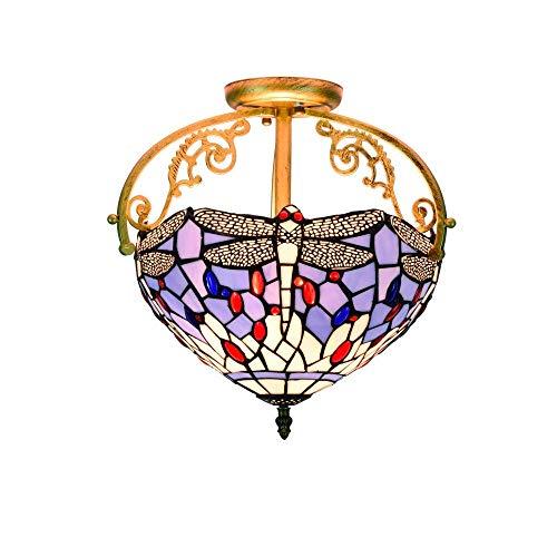 LHQ-HQ - Lámpara de techo de 12 pulgadas, diseño de libélula azul de cristal estilo lámpara de techo colgante para sala de estar, lámpara de pasillo, lámpara de techo de succión