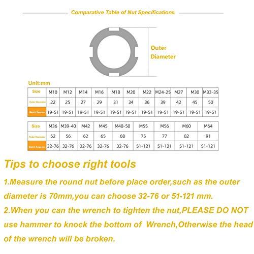 Vmotor Chrome Vanadium C Spanner Tool Adjustable Hook Wrench - 1 1/4-3