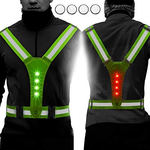 Geyoga 2 Pieces LED Reflective Running Vest Good Visibility Light Vest with Adjustable Elastic Belt Straps Safety Waterproof Light Reflective Running Vests for Men Women Night Running Cycling