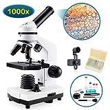 BNISE Microscopio para Niños Estudiantes 100X-1000X, Potente Microscopios Biológico Optico Educativo con Adaptador teléfono, Muestras Biológicas, operación Equipo