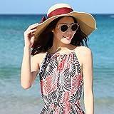 LNNZPL Cap Sombrero for el Sol Sombrero de Paja Inglaterra Retro Gigante Sombrero Plegable de Playa del Verano del Casquillo Mar Sombrero (Color : Wine Red Cloth Belt)
