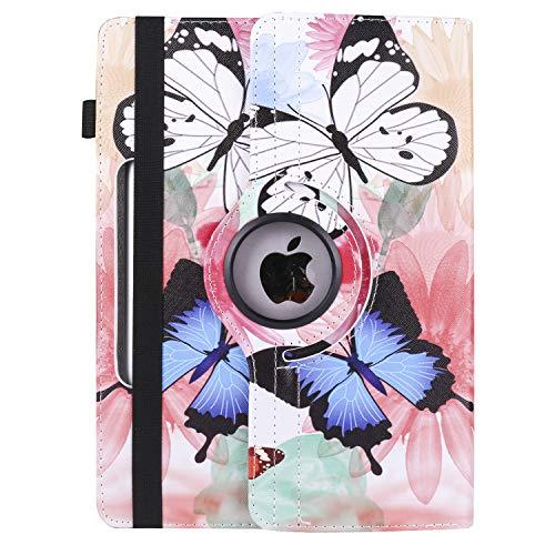 XTstore Tablet Hülle 10.1 Zoll Universal, 360° Drehbar Schutzhülle Hülle Tasche für iPad 10.2 2019, Samsung Galaxy Tab A 10.1, Huawei MediaPad T3 T5/M5 Lite 10, Lenovo Tab E10/Tab 4 10, Schmetterling