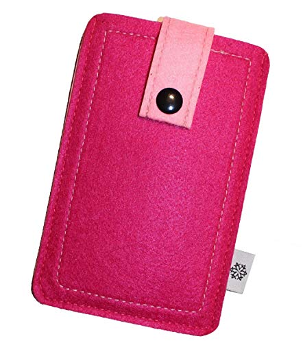 Dealbude24 Filz-Tasche passend für LG G8 ThinQ mit Hülle, Stoßfeste Schutztasche aus Filz, mehrfarbiges Etui mit Band zum herausziehen des Handys in Pink - XL