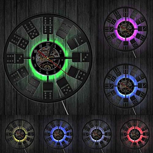 szhao Klassische Domino LED Wandleuchte Nachttischlampe Schachspiel Spielblöcke Uhr aus echtem Vinyl