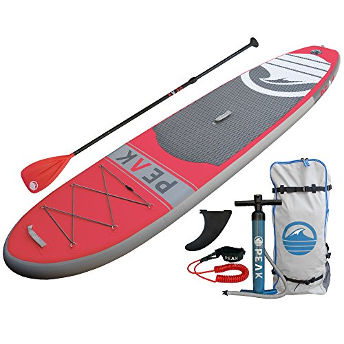 PEAK Inflatable Stand Up Paddle Board with Adjustable Paddle, Travel...