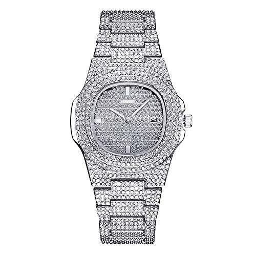 XIAOQIAO Reloj británico de Diamante de Agua de gypsophila Simple, Reloj de Banda de Acero de Calendario de Diamante Completo (Color : Silver)