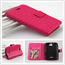 For BLU Advance 4.0 A270a/A272 Luxury Leather Flip Wallet Case Cover Pocket Book with ID Showing Window (BLU Advance 4.0 A270A Hot Pink)