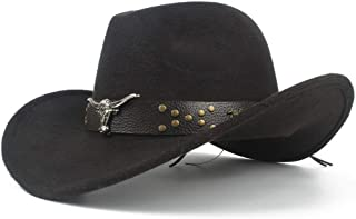 SHENTIANWEI Unisex Men Women Western Cowboy Hat with Cow Head Leather Band Sombrero Hat Wide Brim Church Jazz Hat Size 56-58CM