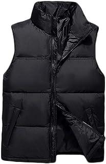 秋と冬のダウンベスト男性の厚くなるスリムカラーダウンジャケットベストのベスト (色 : 黒, サイズ さいず : M)