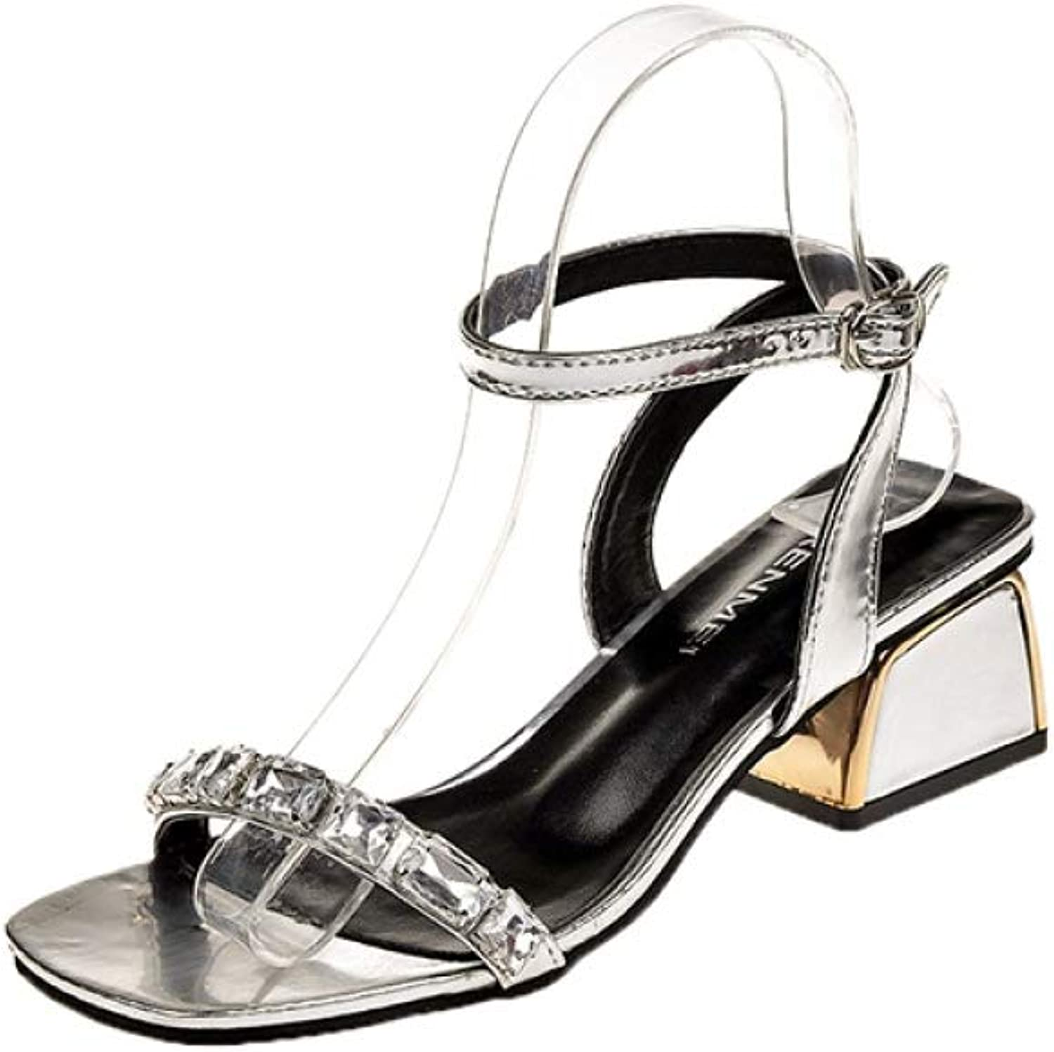 T-JULY Leisure Elegant shoes Summer Sandals Crystals Square Heels Ankle-Strap Women's shoes Sandals Woman