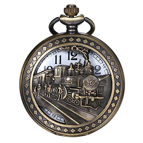 JewelryWe Herren Taschenuhr Vintage Antike 3D Lokomotive Dampf Zug Eisenbahn Hohle Openwork Quarz Analog Uhr mit Kette Halskette Bronze Geschenk