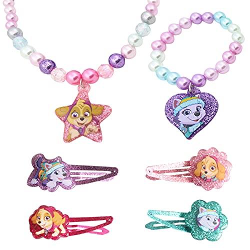 Miotlsy Schmuck Mädchen Paw Patrol Armband Halskette Kinder mit Fuchs Schneeflocke Kuchen Anhänger Prinzessin Kinderschmuck Mädchen für Kleinkind Geburtstag Party Mitgebsel