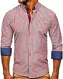 BOLF Hombre Camisa de Rayas de Manga Larga Cuello Americano Camisa de Algodón Camise Elegante Slim fit Estilo Casual 20704 Burdeos L [2B2]